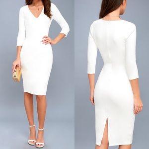 Lulus Style and Slay White Bodycon Midi Dress